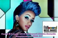 """Cardi B Leads 2019 Billboard Music Awards Nominations With 21 Cardi B leads all nominees at the 2019 Billboard Music Awards. The """"I Like It"""" rapper is nominated 21 times in 18 categories -- just missing the record for most nominations set by Drake and The Chainsmokers, who each had 22 in 2017. Cardi will compete against herself in three categories -- top Hot 100 song, top selling song, and top collaboration. Following Cardi B, Drake and Post Malone each have 17 nominations. Travis Scott is up for 12 awards, and XXXTentacion is up for 10. Billboard Music Awards 2019 Tickets May1st 8PM Live NBC Among the other nominees are Lady Gaga and Bradley Cooper -- who are up for the chart achievement award, top soundtrack for A Star Is Born, and top selling song for """"Shallow."""" Gaga is up separately for top song sales artist. For this year's ceremony, there are two fan-voted categories -- top social artist, and chart achievement. Kelly Clarkson hosts the 2019 Billboard Music Awards from the MGM Garden Arena in Las Vegas on May 1. The show will air live at 8PM ET on NBC. See the full list of nominees below. ARTIST AWARDS Top Artist: Cardi B Drake Ariana Grande Post Malone Travis Scott Top New Artist: Bazzi Juice Wrld Lil Baby Dua Lipa Ella Mai Billboard Chart Achievement Award: Dan + Shay Drake Ariana Grande Lady Gaga & Bradley Cooper Dua Lipa Top Male Artist: Drake Post Malone Travis Scott Ed Sheeran XXXTentacion Top Female Artist: Cardi B Ariana Grande Halsey Ella Mai Taylor Swift Top Duo/Group: BTS Dan + Shay Imagine Dragons Maroon 5 Panic! At The Disco Top Billboard 200 Artist: Drake Ariana Grande Post Malone Travis Scott XXXTentacion Top Hot 100 Artist: Cardi B Drake Ariana Grande Juice Wrld Post Malone Top Streaming Songs Artist: Cardi B Drake Ariana Grande Post Malone XXXTentacion Top Song Sales Artist: Drake Ariana Grande Imagine Dragons Lady Gaga Post Malone Top Radio Songs Artist: Cardi B Drake Ariana Grande Maroon 5 Post Malone Top Social Artist: BTS EXO GOT7 Ariana Gr"""